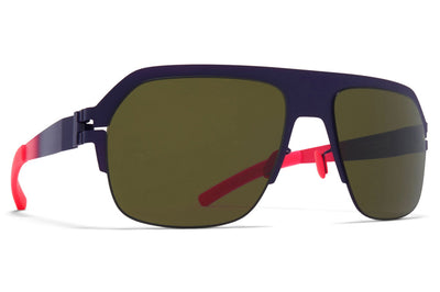MYKITA & Bernhard Willhelm - Super Sunglasses Mulberry/Neon Fuchia with Raw Green Solid Lenses