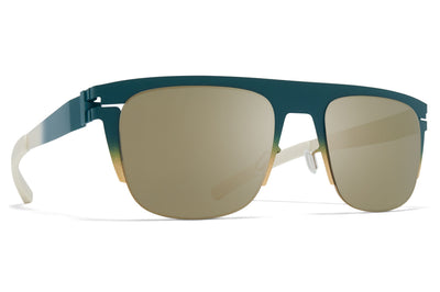 MYKITA & Bernhard Willhelm - Total Sunglasses Emerald/Gold/Chantilly White with Fir Flash Lenses