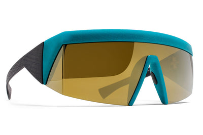 MYKITA & Bernhard Willhelm - Vice MM8 Black/Lagoon with Lateral Gold Shield Lens