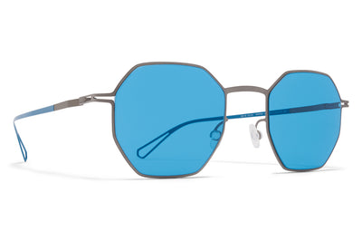 MYKITA & Bernhard Willhelm - Walsh Sunglasses Grey with Turquoise Solid Lenses