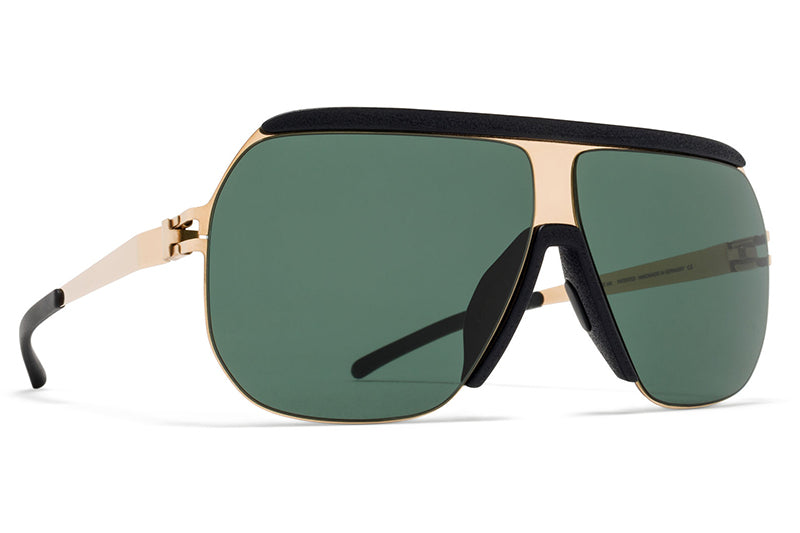 MYKITA & Bernhard Willhelm - Wolfi Sunglasses MH11 Champagne Gold/Pitch Black with Dark Green Solid Lenses