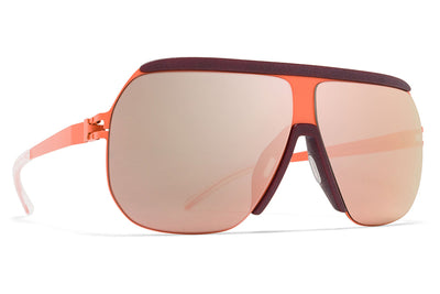 MYKITA & Bernhard Willhelm - Wolfi Sunglasses MH20 Salmon/New Aubergine with Rose Gold Flash Lenses