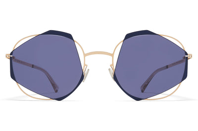 MYKITA - Achilles Sunglasses Champagne Gold/Blue Velvet with Indigo Solid Lenses