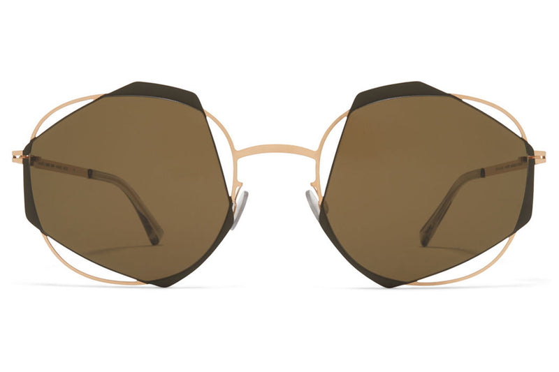 MYKITA / Damir Doma  - Achilles Sunglasses Champagne Gold/Camou Green with Raw Brown Solid Lenses