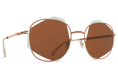MYKITA / Damir Doma  - Achilles Sunglasses Shiny Copper/Antique White with Brown Solid Lenses