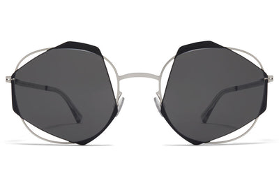 MYKITA / Damir Doma  - Achilles Sunglasses Shiny Silver/Jet Black with Dark Grey Solid Lenses