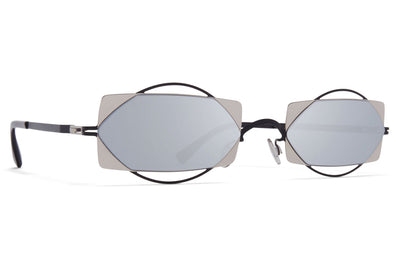 MYKITA / Damir Doma  - Charlotte Sunglasses Black/Silver with Silver Flash Lenses