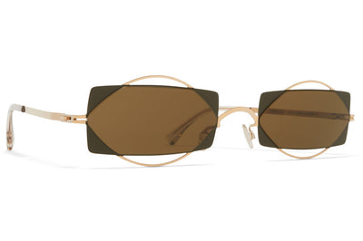 MYKITA / Damir Doma  - Charlotte Sunglasses Champagne Gold/Camou Green with Raw Brown Solid Lenses