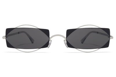 MYKITA / Damir Doma  - Charlotte Sunglasses Shiny Silver/Jet Black with Dark Grey Solid Lenses