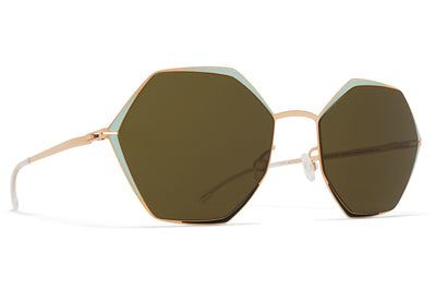 MYKITA - Alessia Sunglasses Champagne Gold/Green/Moss with Raw Green Lenses