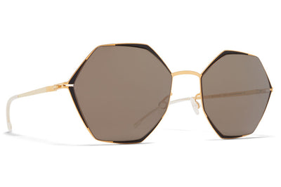 MYKITA - Alessia Sunglasses Gold/Jet Black with Brilliant Grey Solid Lenses