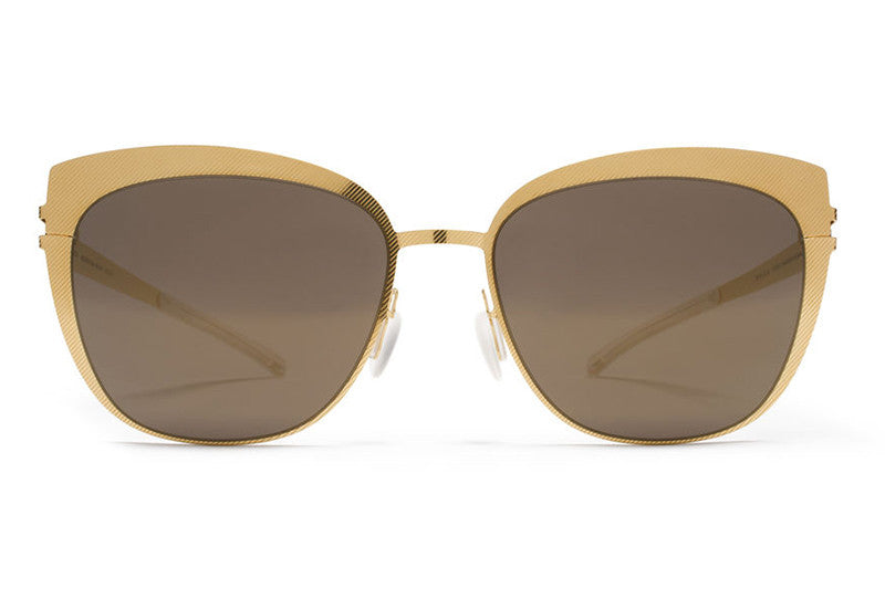 MYKITA Sunglasses - Bellyn Gold Hatch with Brilliant Grey Solid Lenses