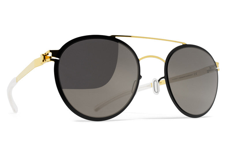 9017e4cb245b MYKITA Sunglasses - Buster Gold/Jet Black with Brilliant Grey Solid Lenses