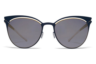 MYKITA Sunglasses - Cara Gold/Indigo with Brilliant Blue Solid Lenses