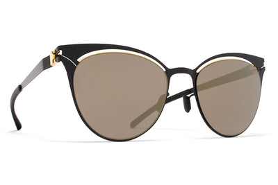 MYKITA Sunglasses - Cara Gold/Jet Black with Brilliant Grey Solid Lenses