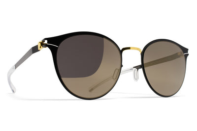 MYKITA Sunglasses - Celeste Gold/Jet Black with Brilliant Grey Solid Lenses