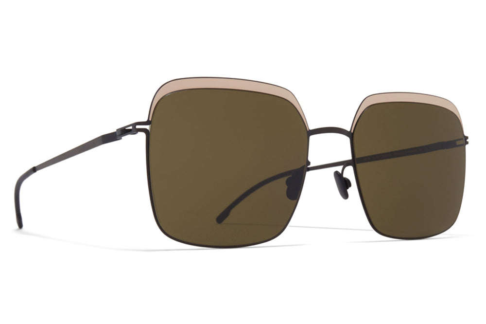 MYKITA - Dalia Sunglasses Black/Sand with Raw Green Solid Lenses