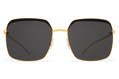 MYKITA - Dalia Sunglasses Gold/Jet Black with Dark Grey Solid Lenses