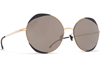 MYKITA - Elisa Sunglasses Gold/Jet Black with Brilliant Grey Solid Lenses