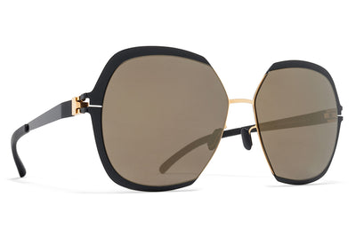 MYKITA Sunglasses - Felicia Gold/Jet Black with Brilliant Grey Solid Lenses