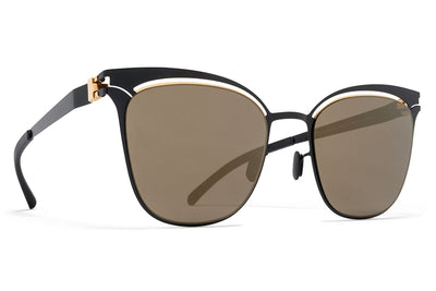 MYKITA Sunglasses - Gina Gold/Jet Black with Brilliant Grey Solid Lenses