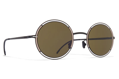 MYKITA - Giselle Sunglasses Black/Sand with Raw Green Solid Lenses