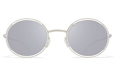 MYKITA - Giselle Sunglasses Silver/White with Silver Flash Lenses