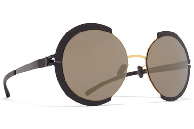 MYKITA - Houston Sunglasses Gold/Jet Black with Brilliant Grey Solid Lenses