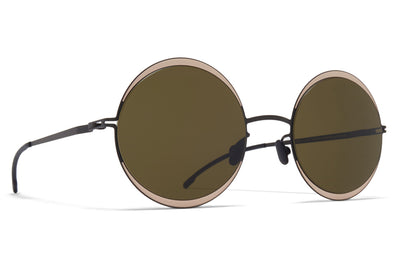 MYKITA - Iris Sunglasses Black/Sand with Raw Green Solid Lenses