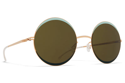 MYKITA - Iris Sunglasses Champagne Gold/Green/Moss with Raw Green Solid