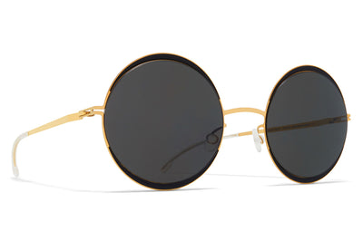 MYKITA - Iris Sunglasses Gold/Jet Black with Dark Grey Solid Lenses