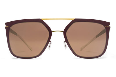 MYKITA Sunglasses - Jessica Gold/Burgundy with Brilliant Burgundy Solid Lenses