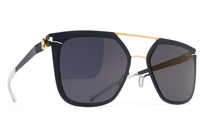 MYKITA Sunglasses - Jessica Gold/Indigo with Brilliant Blue Solid Lenses