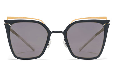 MYKITA Sunglasses - Kendall Gold/Indigo with Brilliant Blue Solid Lenses