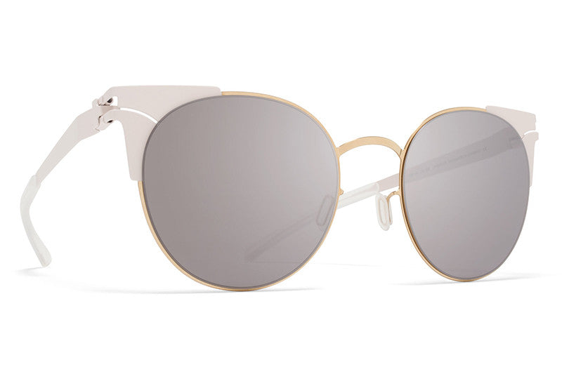 e9ac51c134 MYKITA Sunglasses - Lulu Champagne Gold Aurore with Dark Purple Flash Lenses