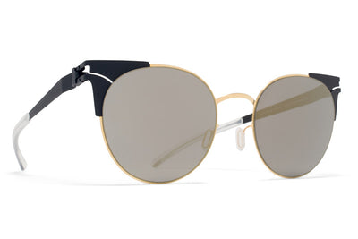 MYKITA Sunglasses - Lulu Gold/Indigo with Brilliant Blue Solid Lenses