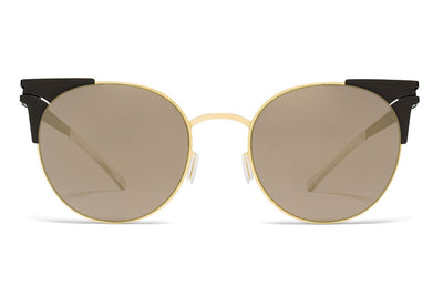 MYKITA Sunglasses - Lulu Gold/Jet Black with Brilliant Grey Solid Lenses