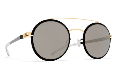 MYKITA Sunglasses - Lupita Gold/Jet Black with Brilliant Grey Solid Lenses