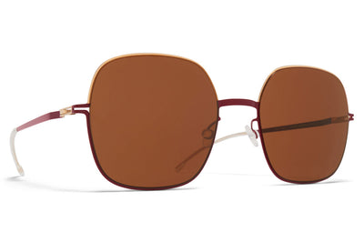 MYKITA - Magda Sunglasses Champagne Gold/Cranberry with Brown Solid Lenses