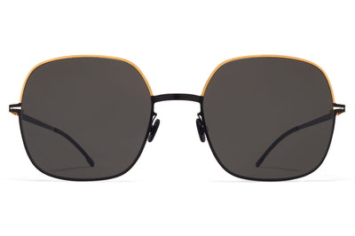 MYKITA - Magda Sunglasses Gold/Jet Black with Dark Grey Solid Lenses