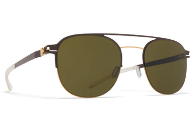 MYKITA - Park Sunglasses Gold/Dark Brown with Raw Green Solid Lenses