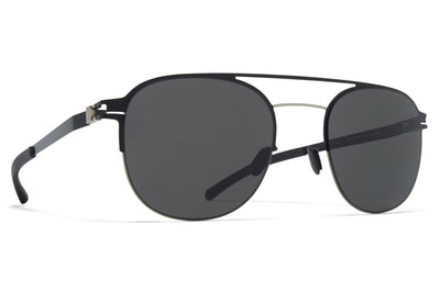 MYKITA - Park Sunglasses Matte Silver/Jet Black with Dark Grey Solid Lenses