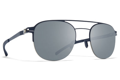 MYKITA - Park Sunglasses Silver/Navy with Light Silver Flash Lenses