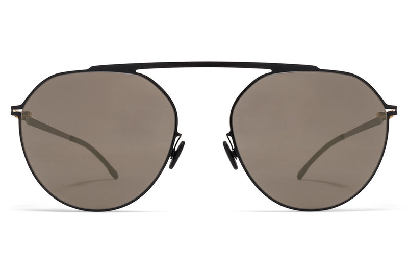 MYKITA - Solomon Sunglasses Gold/Jet Black with Brilliant Grey Solid Lenses