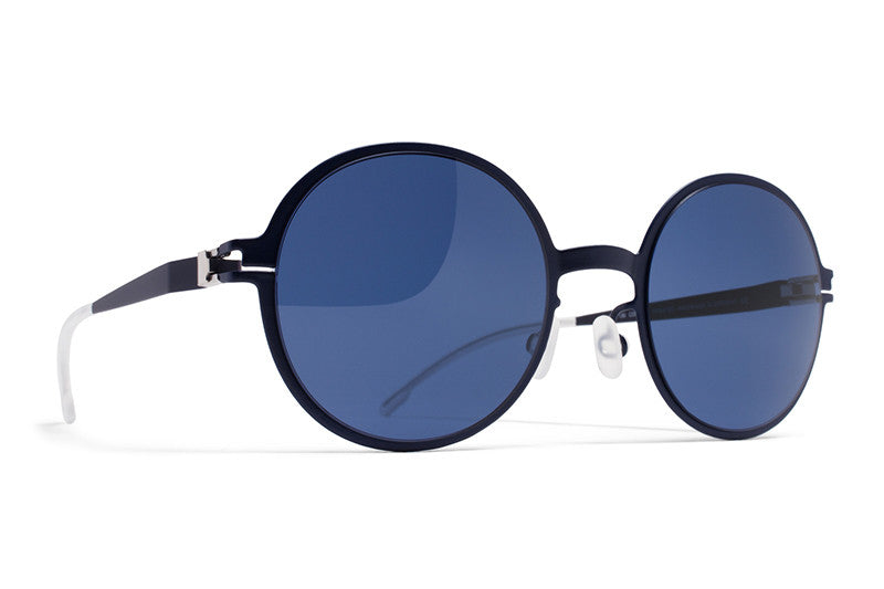 MYKITA First Sunglasses - Flamingo Night Blue with Saphire Blue Solid Lenses