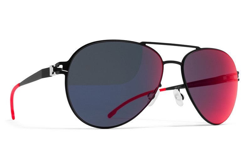 MYKITA First Sunglasses - Woodpecker Black with Scarlet Flash Lenses