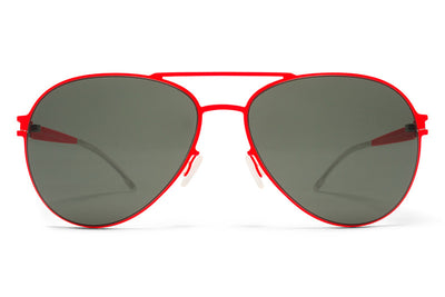 MYKITA First Sunglasses - Woodpecker Fluor Red with Black Solid Lenses