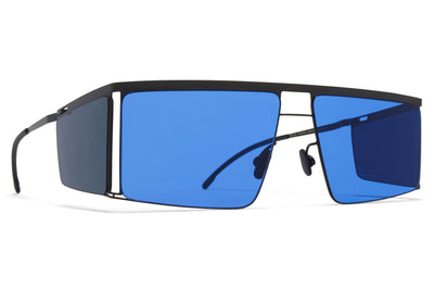 MYKITA x Helmut Lang - HL001 Sunglasses Black/Dark Grey Sides with Super Blue Solid Lenses
