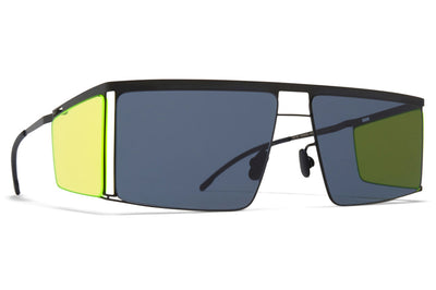 MYKITA x Helmut Lang - HL001 Sunglasses Black/Fluo Yellow Sides with Dark Grey Solid Lenses
