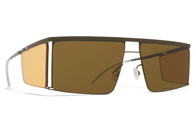 MYKITA x Helmut Lang - HL001 Sunglasses Camou Green/Jelly Yellow with Raw Brown Solid Lenses